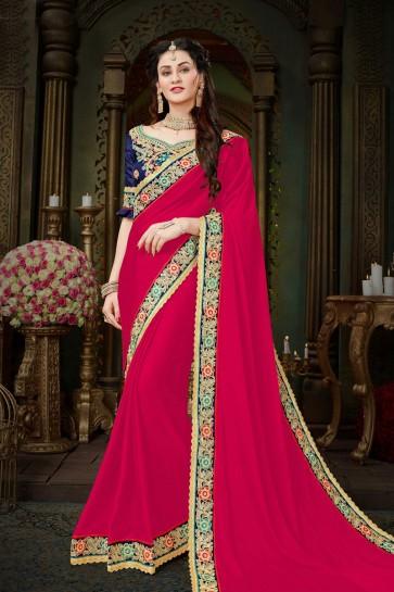 Graceful Pink Georgette Embroidered Designer Saree