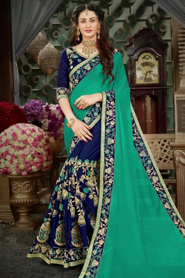 Admriable Green and Blue Georgette Embroidered Designer Saree
