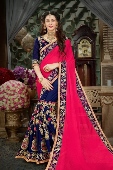 Classic Pink and Blue Georgette Designer Embroidered Saree