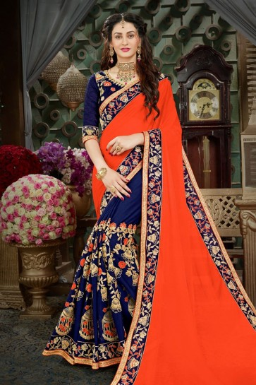 Beautiful Orange and Blue Georgette Embroidered Designer Saree