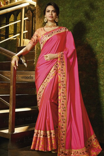 Excellent Pink Silk Embroidered Work Designer Saree