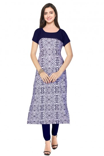 Pretty Blue Crepe Churidar Bottom Party Wear Printed Kurti