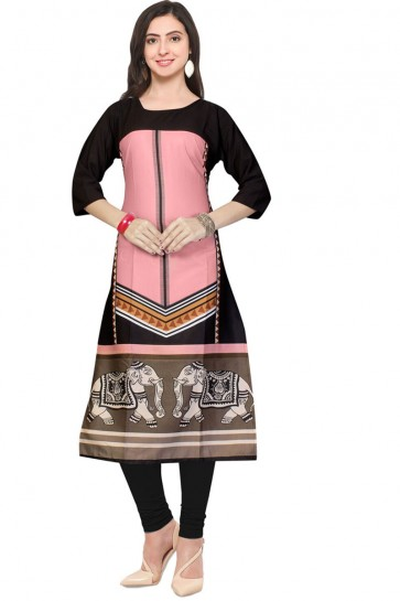 Excellent Pink Crepe Churidar Bottom Party Wear Printed Kurti