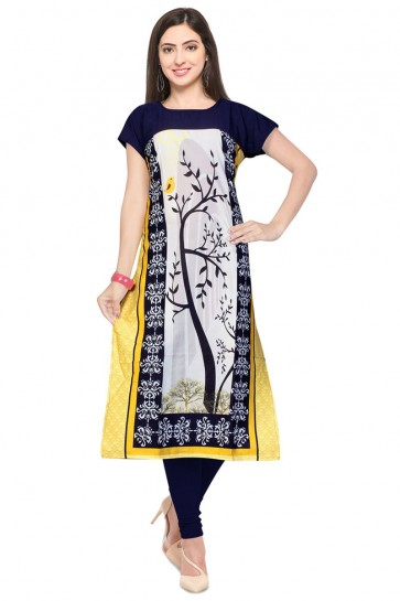 Supreme Yellow and Blue Crepe Party Wear Printed Kurti