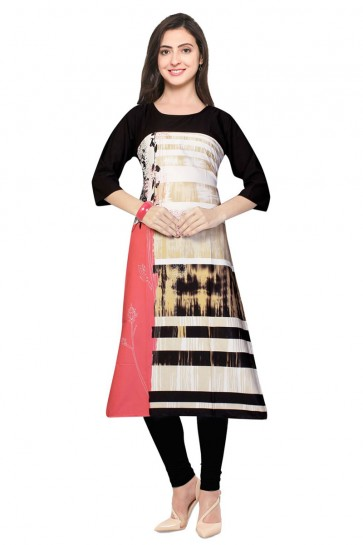 Lovely Cream and Pink Churidar Bottom Party Wear Printed Kurti