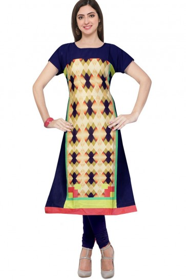 Admirable Multi Color Churidar Bottom Casual Wear Printed Kurti