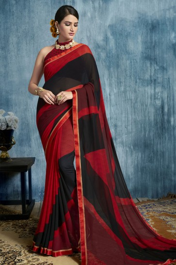 Lovely Red and Black Georgette Casual Printed Saree