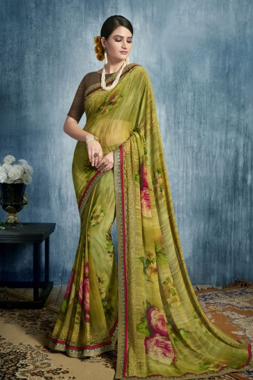Excellent Mehendi Green Georgette Casual Printed Saree