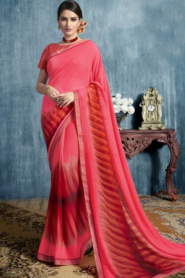 Gorgeous Pink Georgette Casual Printed Saree
