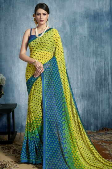 Gorgeous Multi Color and Yellow Georgette Casual Printed Saree