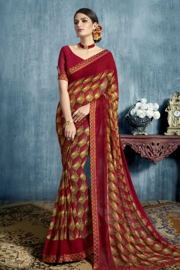Lovely Maroon Georgette Printed Casual Saree