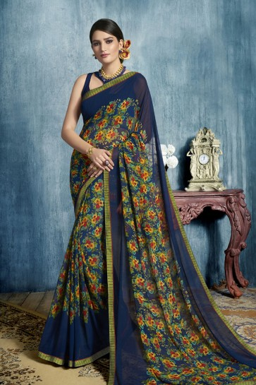 Stylish Navy Blue Georgette Casual Printed Saree
