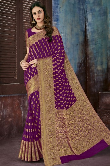 Desirable Purple Chiffon Designer Jaquard Work Saree