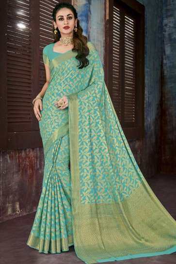 Excellent Green Chiffon Jaquard Work Designer Saree