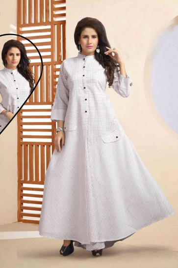 Gorgeous White Churidar Bottom Office Wear Printed Kurti