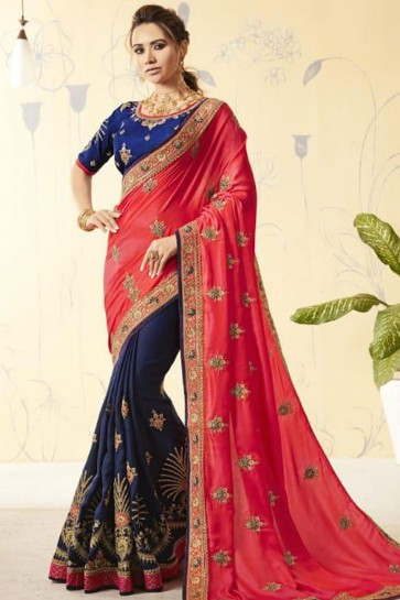 Ultimate Red and Navy Blue Georgette Designer Embroidered Saree