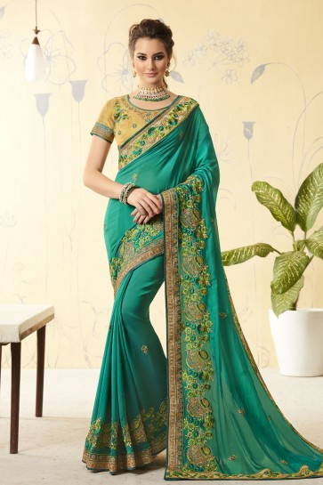 Excellent Green Georgette Embroidered Designer Saree