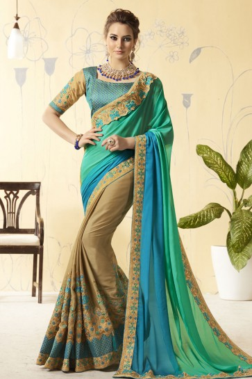 Gorgeous Multi Color and Biege Silk Embroidered Designer Saree
