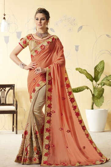 Admirable Peach and Beige Silk Designer Embroidered Saree