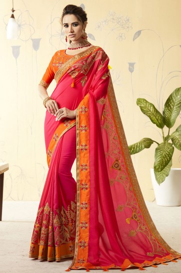 Graceful Pink Silk Embroidered Designer Saree