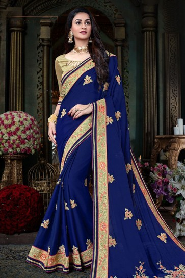 Graceful Navy Blue Georgette Designer Jari and Thread Work Saree