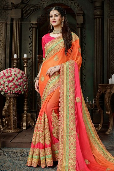 Excellent Orange and Pink Chiffon Designer Jari and Thread Work Saree