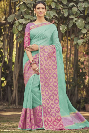 Desirable Sky Blue Cotton Jaquard Work Designer Saree