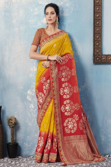 Beautiful Mustard and Peach Silk Embroidered Designer Saree