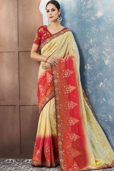 Admirable Biege and Red Silk Embroidered Designer Saree