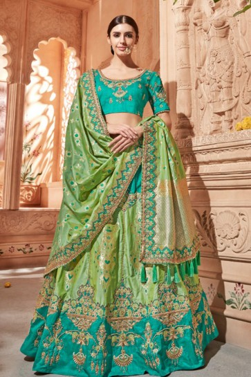 Lovely Green Silk and Jacquard Embroidered Work Designer Lehenga Choli
