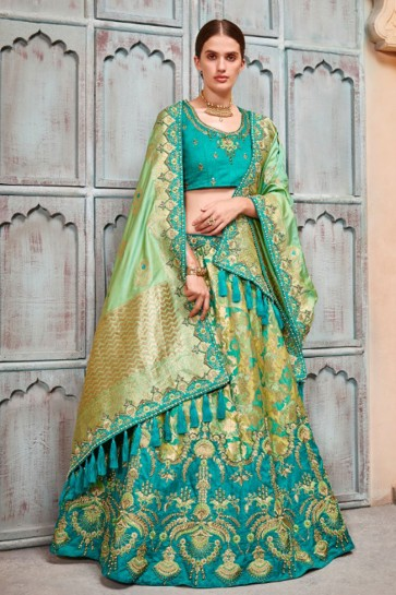 Classic Turquoise Silk and Jacquard Embroidered Work Designer Lehenga Choli