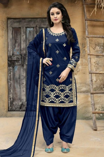 Stylish Navy Blue Silk Embroidered Patiala Salwar Suit With Net Dupatta