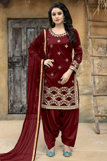 Excellent Maroon Silk Embroidered Patiala Salwar Suit With Net Dupatta