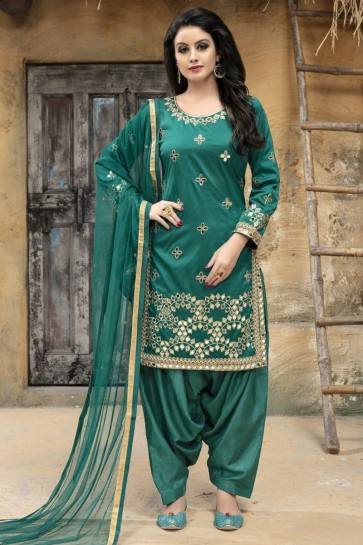 Graceful Green Designer Embroidered Patiala Salwar Suit With Net Dupatta