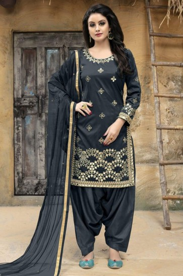 Classic Grey Silk Embroidered Patiala Salwar Suit