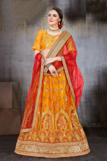 Classic Mustard Net Embroidered Work Lehenga Choli With Net Dupatta