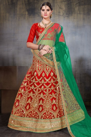 Pretty Red Net Embroidered Work Designer Lehenga Choli