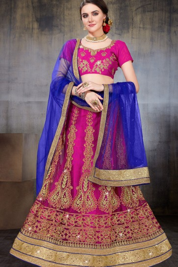 Excellent Pink Net Embroidered Work Designer Lehenga Choli