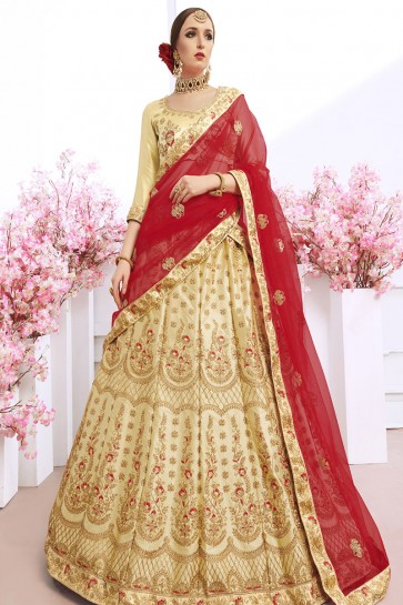 Charming Beige Silk Embroidered Work Lehenga Choli With Net Dupatta