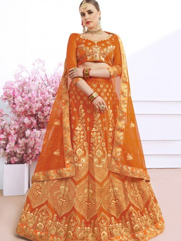 Beautiful Orange Silk Embroidered Work Designer Lehenga Choli