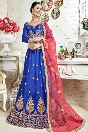 Graceful Blue Banglori Silk Embroidered Work Designer Lehenga Choli
