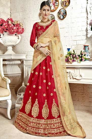 Admirable Red Silk Embroidered Work Lehenga Choli With Net Dupatta