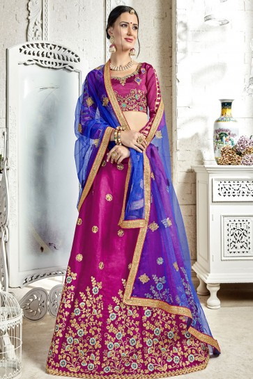 Ultimate Pink Banglori Silk Designer Lehenga with Net Dupatta