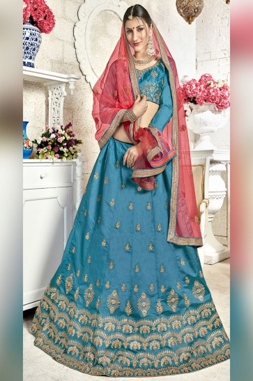 Desirable Sky Blue Banglori Silk Designer Lehenga with Net Dupatta