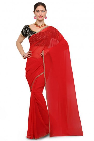 Charming Red Georgette Border Work Casual Saree