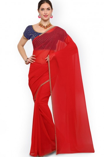 Graceful Red Border Work Casual Saree