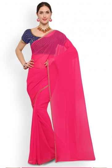 Lovely Pink Georgette Border Work Casual Saree