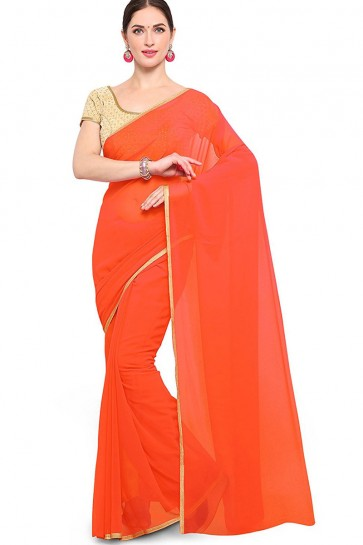 Excellent Orange Georgette Border Work Casual Saree