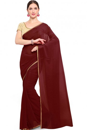 Beautiful Coffee Georgette Border Work Casual Saree