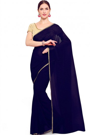 Ultimate Navy Blue Georgette Border Work Casual Saree